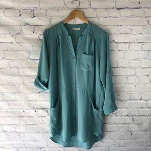 Lush | Teal Green sz M Button Up Dress